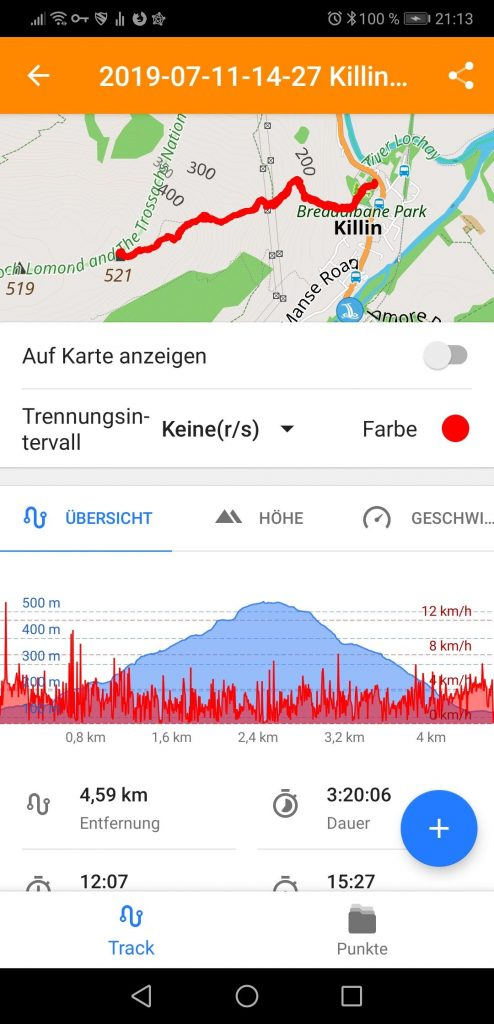 Routeninfo Killin Hausberg